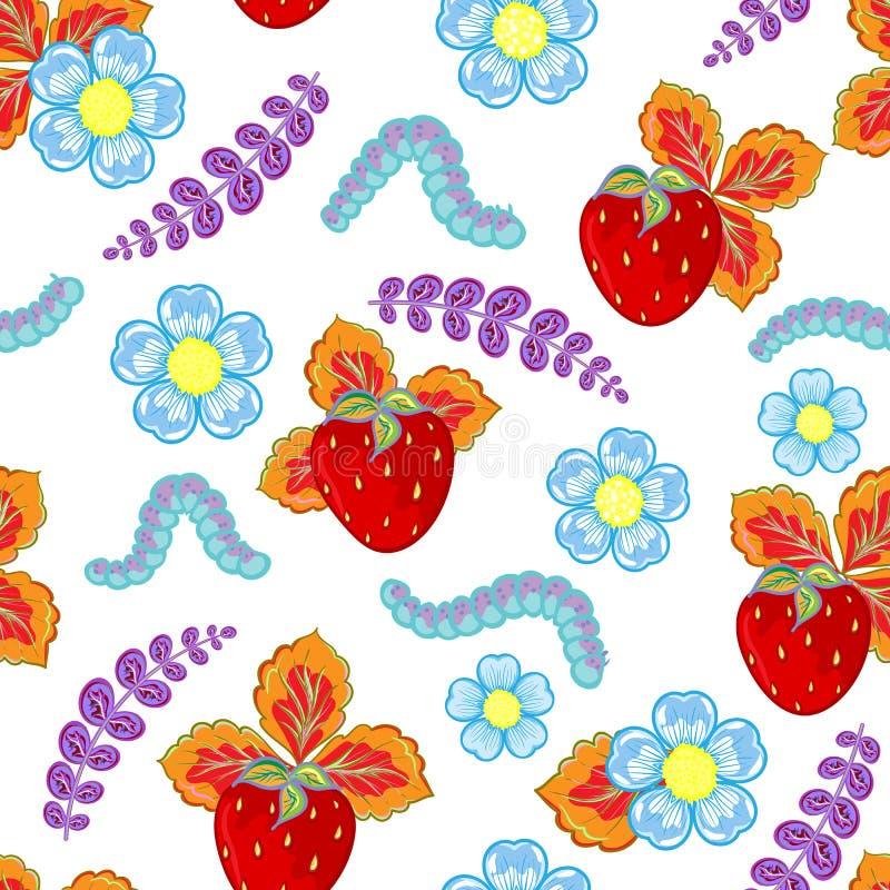 Teste padrão sem emenda engraçado do vetor com morango, lagarta e flores e folhas ilustração do vetor