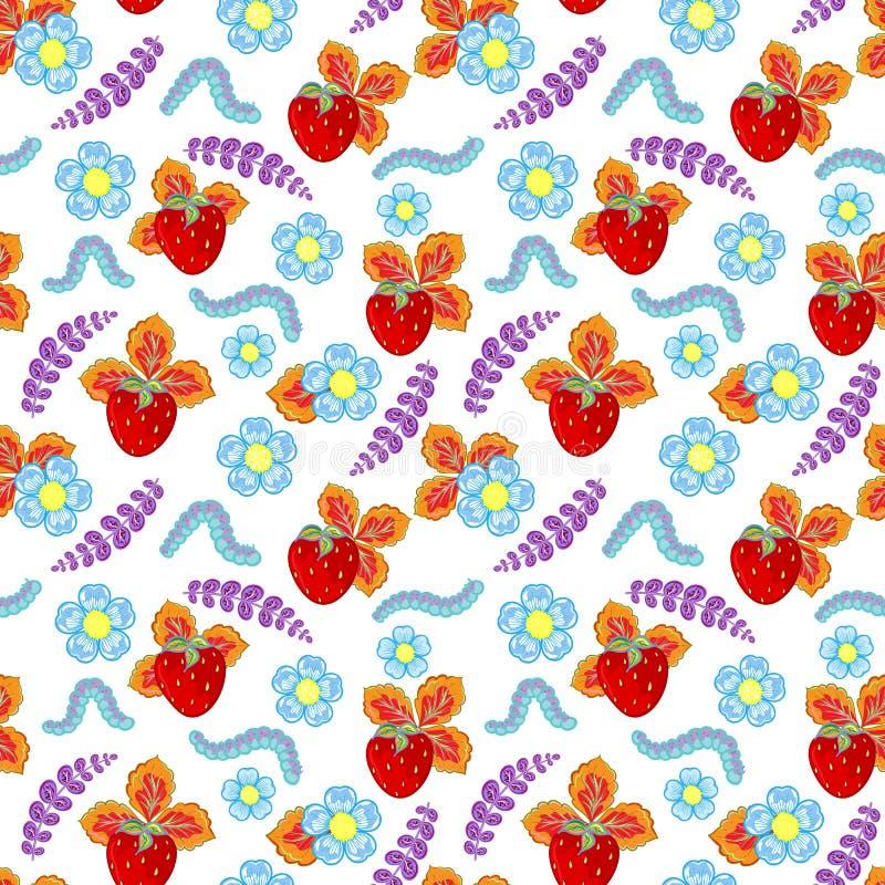 Teste padrão sem emenda engraçado do vetor com morango, lagarta e flores e folhas ilustração stock