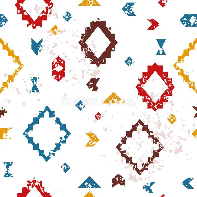 Teste padrão sem emenda envelhecido colorido do grunge étnico asteca geométrico, vetor ilustração stock