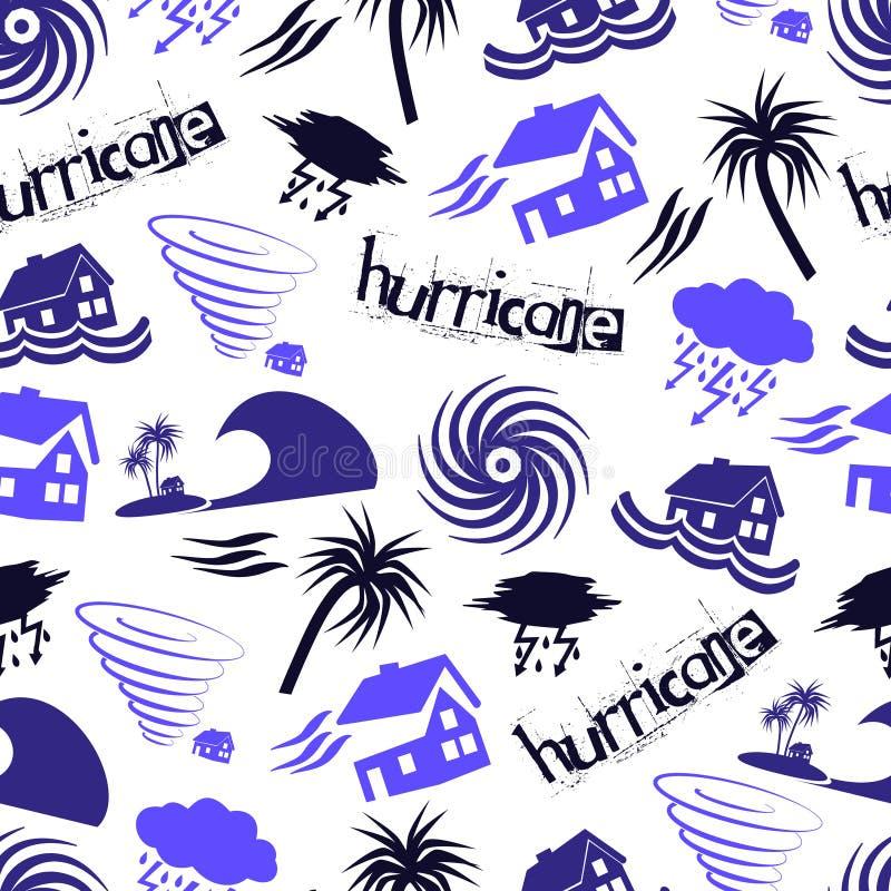 Teste padrão sem emenda eps10 dos ícones do problema da catástrofe natural do furacão ilustração stock