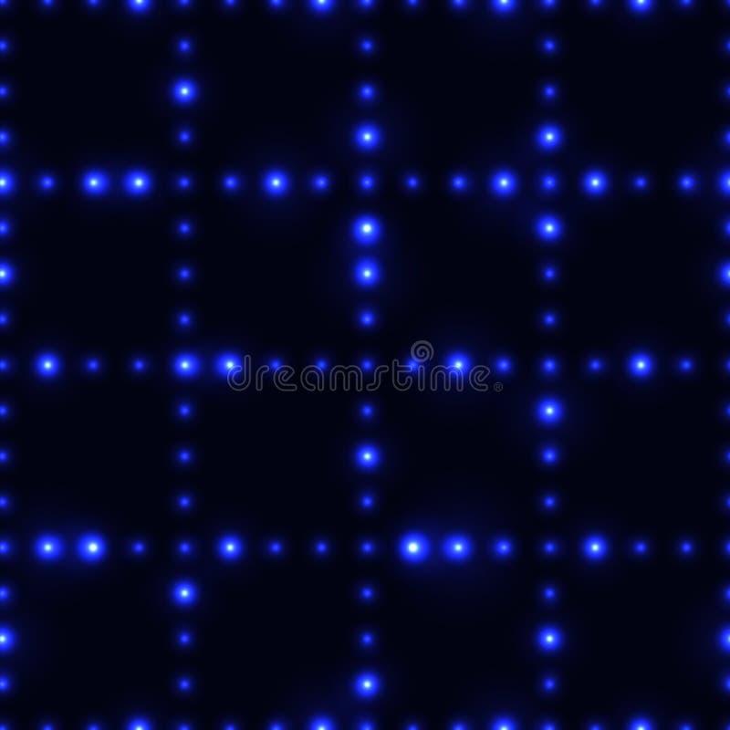 Teste padrão sem emenda escuro com shinning a grade de néon azul do ponto ilustração stock
