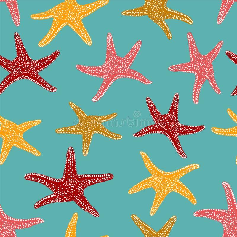 Teste padrão sem emenda - estrela do mar ilustração stock