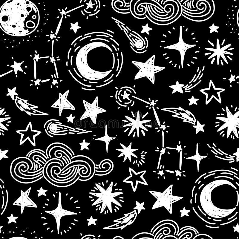 Teste padrão sem emenda estrelado místico ilustração do vetor