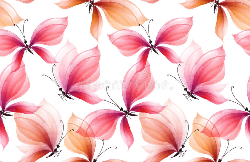 Teste padrão sem emenda extravagante da borboleta rosado e cor-de-rosa ilustração do vetor