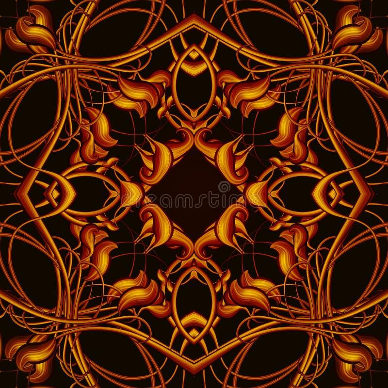 Teste padrão sem emenda fantástico alaranjado brilhante com folhas fantásticas mim ilustração royalty free