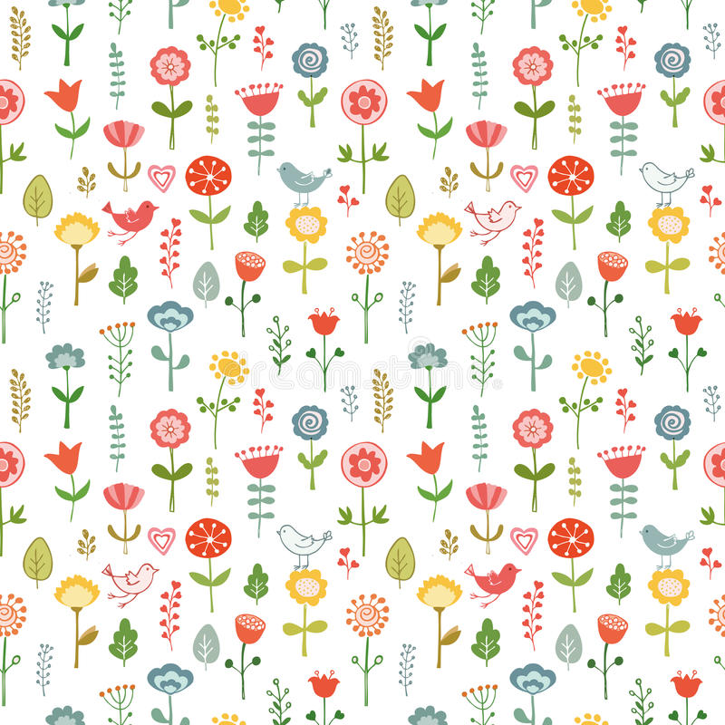Teste padrão sem emenda feito de flores da garatuja ilustração do vetor