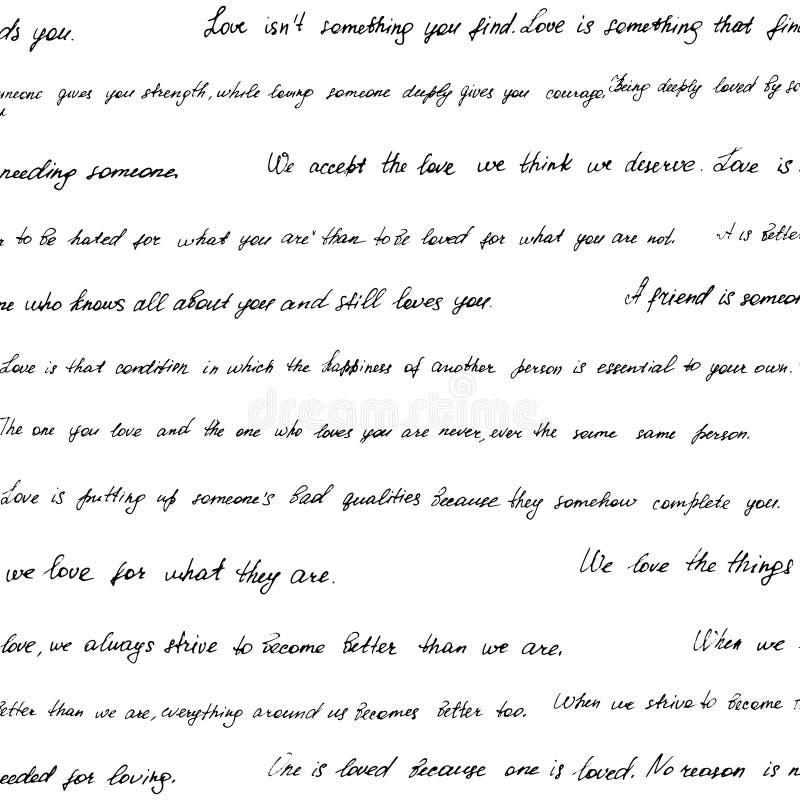 Teste padrão sem emenda feito de texto escrito à mão ilustração do vetor
