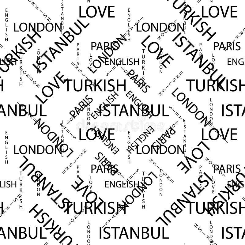 Teste padrão sem emenda feito de texto escrito à mão Palavras turcas inglesas e lettern de Londres Paris escritos à mão em preto  ilustração royalty free