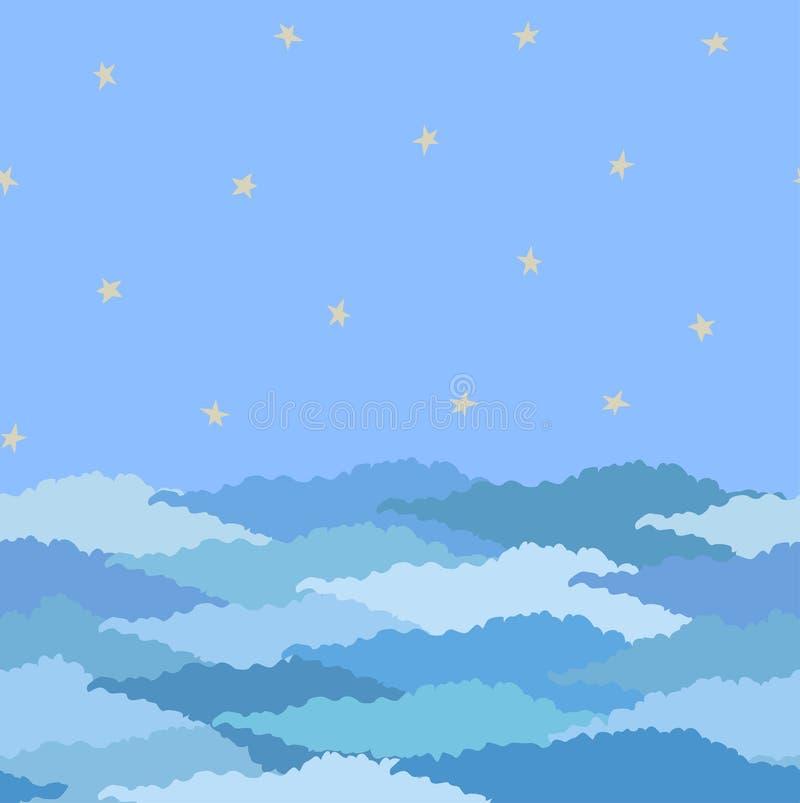 Teste padrão sem emenda feito do céu com estrelas e nuvens ilustração royalty free