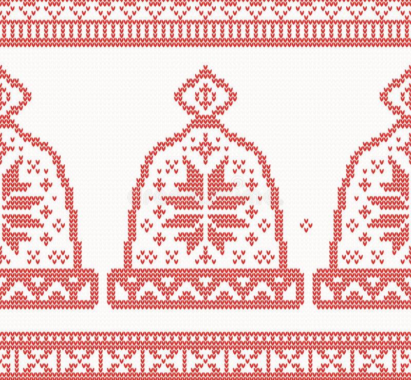 Teste padrão sem emenda feito malha do tampão na cor vermelha ilustração royalty free