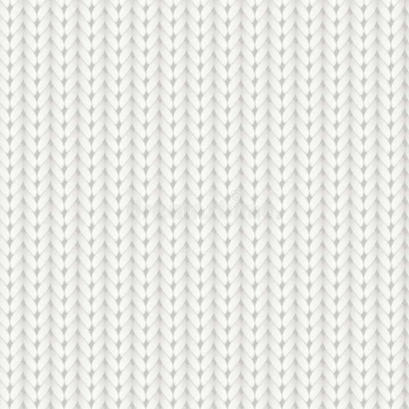 Teste padrão sem emenda feito malha do vetor Textura merino branca da malha de lãs Fundo de confecção de malhas feito a mão acolh ilustração royalty free