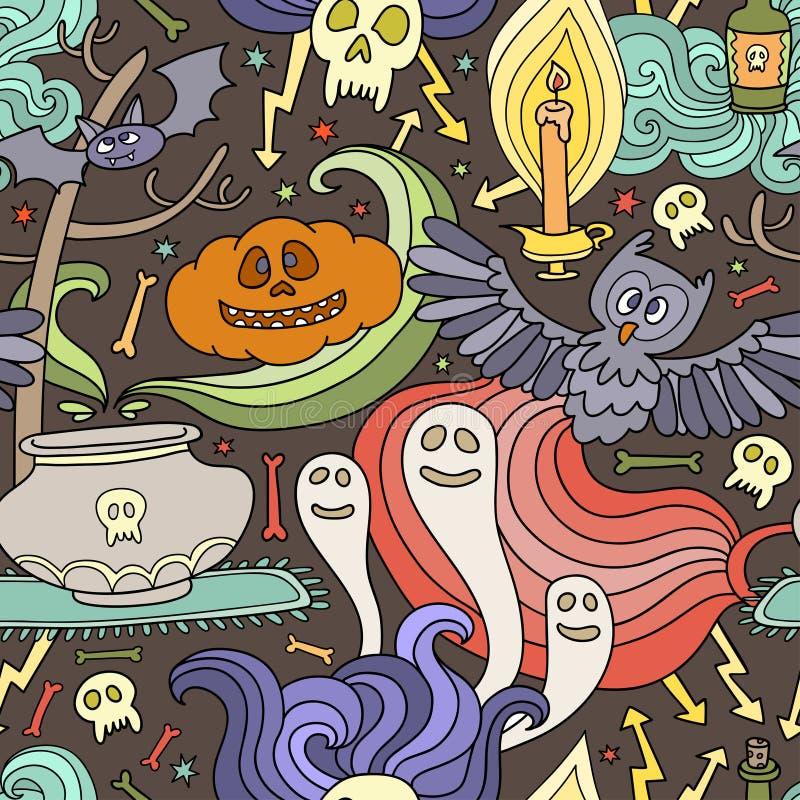 Teste padrão sem emenda feliz de Dia das Bruxas com abóboras, fantasmas, aranhas ilustração do vetor