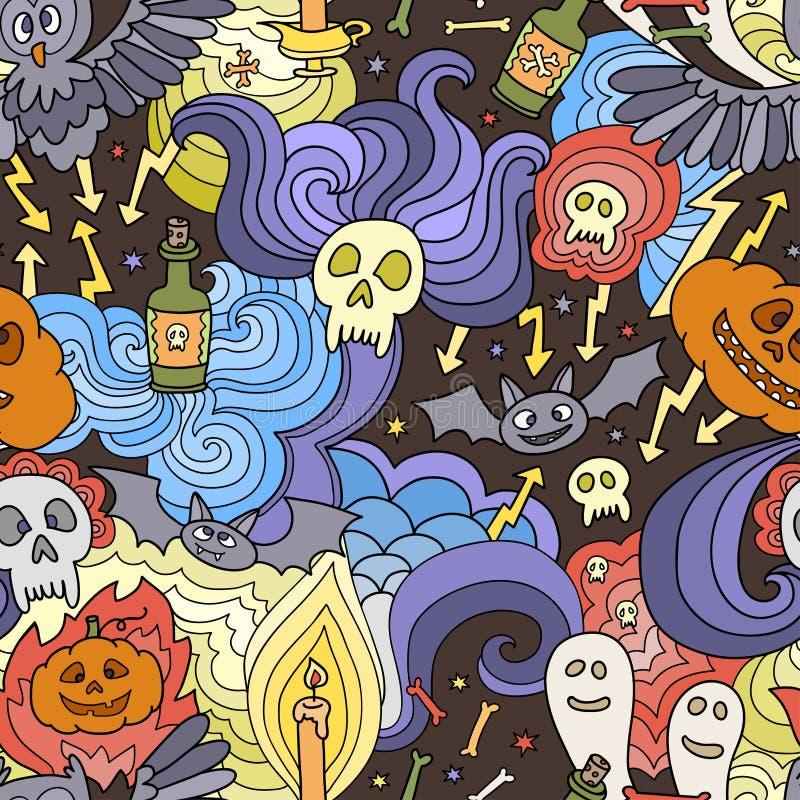 Teste padrão sem emenda feliz de Dia das Bruxas com abóboras, fantasmas, aranhas ilustração stock