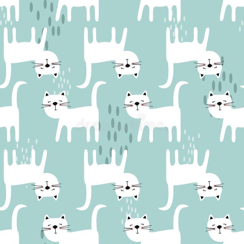 Teste padrão sem emenda feliz dos gatos, o azul e o branco Fundo bonito decorativo com animais ilustração stock