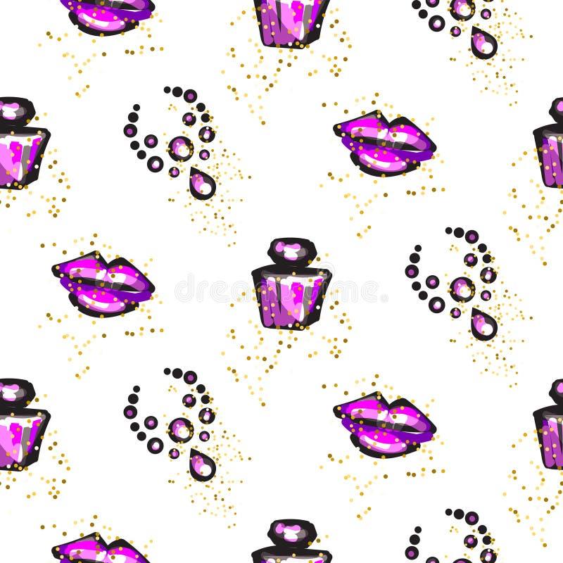 Teste padrão sem emenda feminino chique glam roxo e preto ilustração royalty free