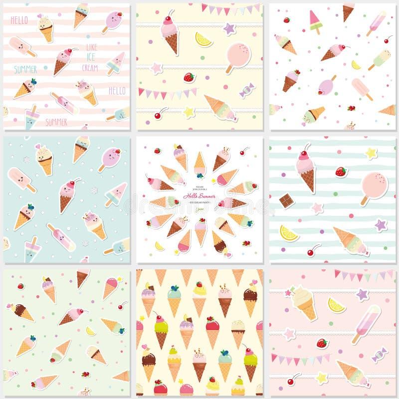 Teste padrão sem emenda festivo ajustado com doces Tema do verão do gelado ilustração royalty free