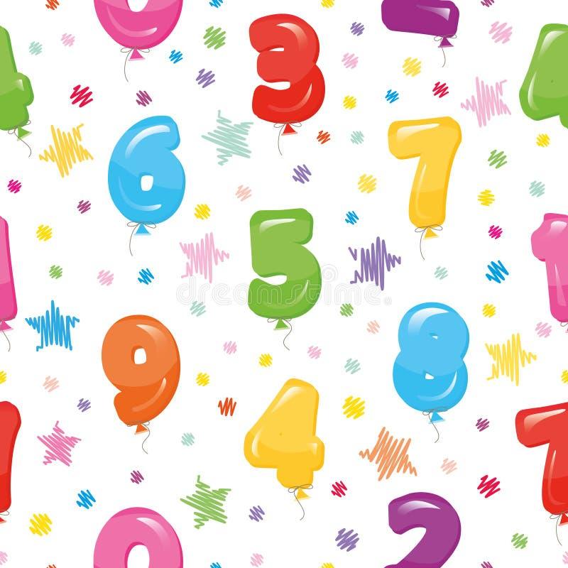 Teste padrão sem emenda festivo com números coloridos e confetes do balão Para o aniversário, festa do bebê, projeto dos feriados ilustração royalty free