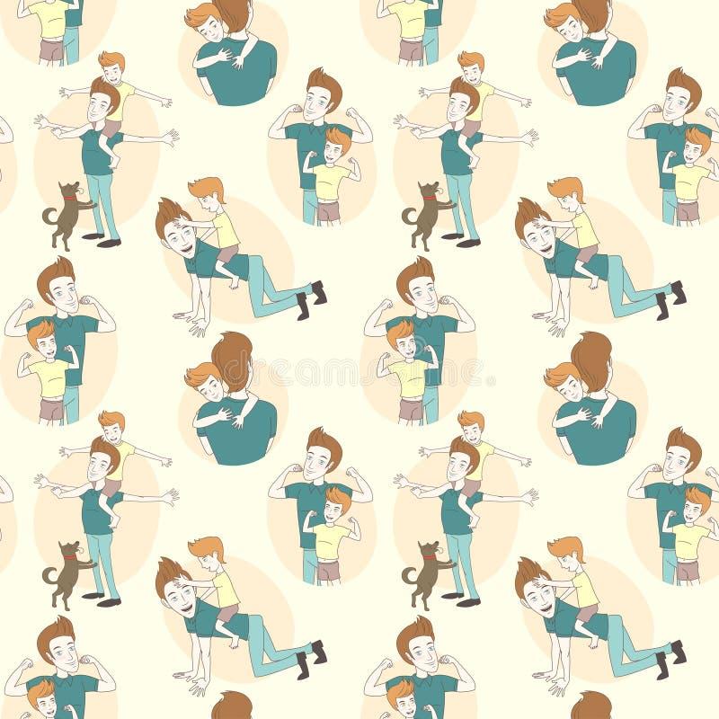 Teste padrão sem emenda festivo da garatuja para o dia de pai ilustração stock