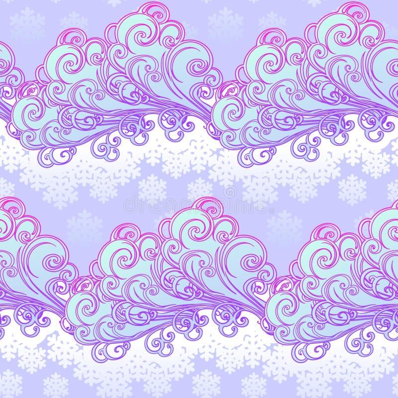 Teste padrão sem emenda festivo do inverno do estilo do conto de fadas Nuvens ornamentado encaracolado com flocos de neve de qued ilustração stock