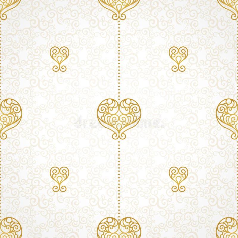 Teste padrão sem emenda fino do vetor com corações ilustração royalty free