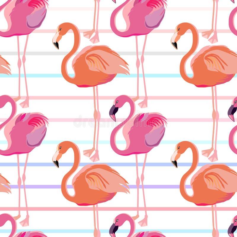 Teste padrão sem emenda Flamingo cor-de-rosa Ornamento com motivos orientais Vetor ilustração do vetor