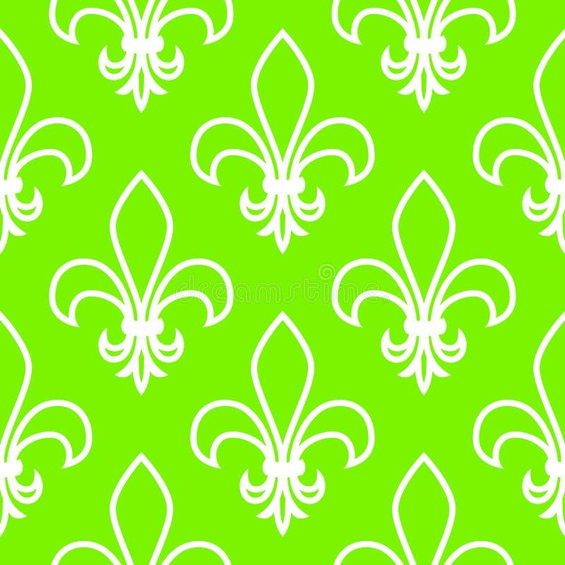 Teste padrão sem emenda Fleur de flis gráficos lineares Desenho simétrico geométrico Fundo verde ilustração do vetor