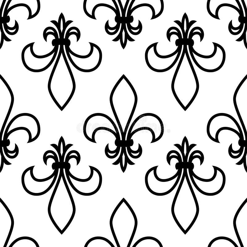 Teste padrão sem emenda Flor de lis gráficos lineares Desenho simétrico geométrico Fundo branco ilustração do vetor