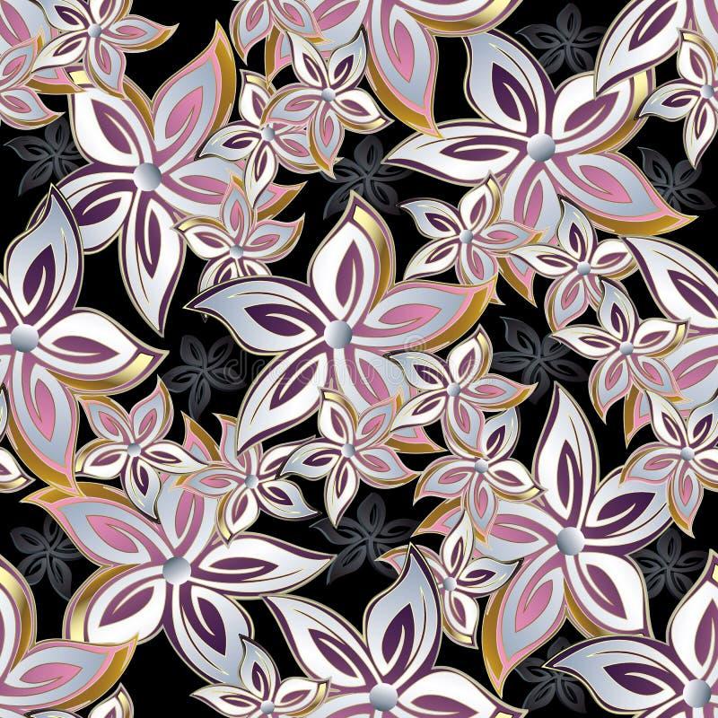 Teste padrão sem emenda floral abstrato O vetor floresce o fundo ilustração royalty free