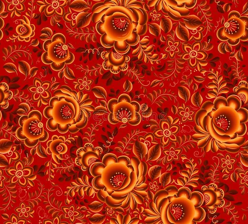 Download Teste Padrão Sem Emenda Floral Alaranjado No Fundo Vermelho No Estilo Do Hohloma Da Tradição Do Russo Ilustração do Vetor - Ilustração de marrom, planta: 65576937