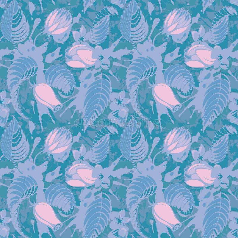 Teste padrão sem emenda floral azul ilustração stock