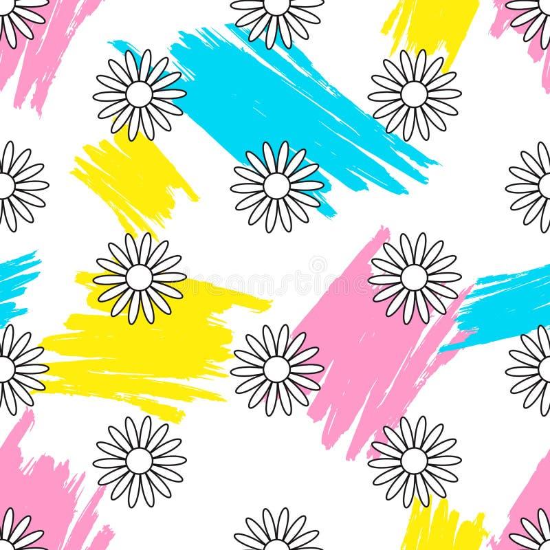 Teste padrão sem emenda floral Bandeira das flores Background ilustração do vetor