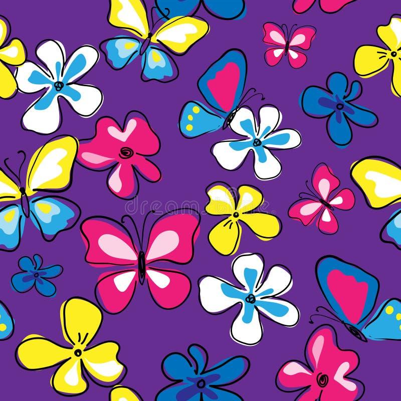Teste padrão sem emenda floral bonito com borboletas e flores ilustração royalty free