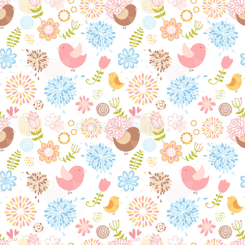 Teste padrão sem emenda floral bonito do verão ilustração do vetor