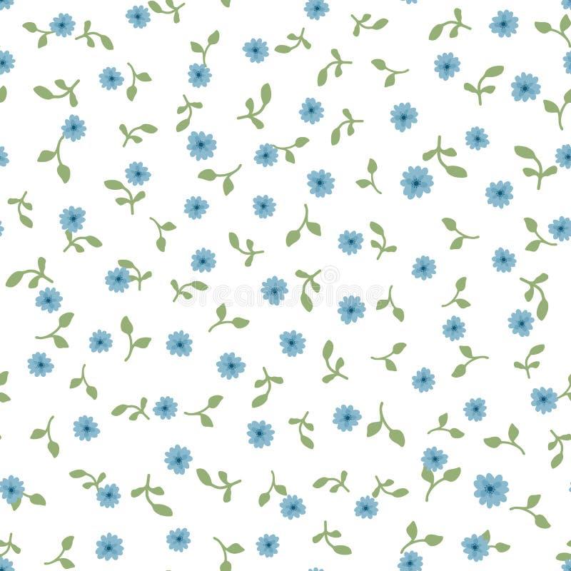 Teste padrão sem emenda floral bonito Flores e folhas azuis pequenas repetidas do verde no fundo branco ilustração do vetor