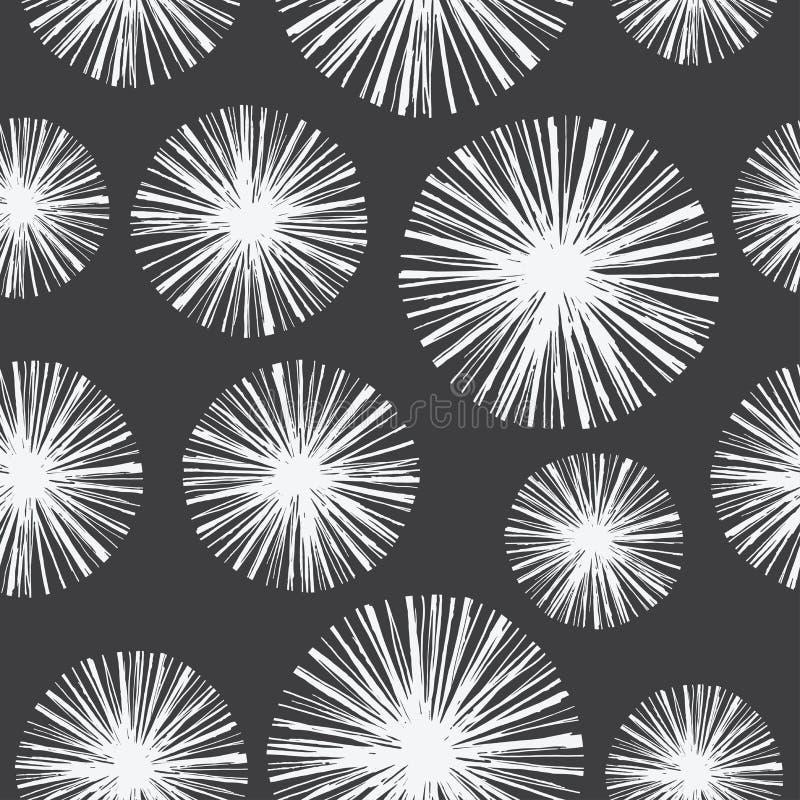 Teste padrão sem emenda floral brilhante com os dentes-de-leão tirados mão ilustração stock