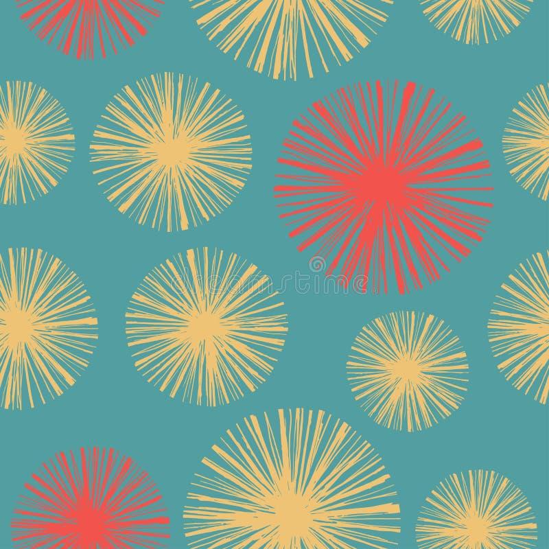 Teste padrão sem emenda floral brilhante com os dentes-de-leão tirados mão ilustração royalty free