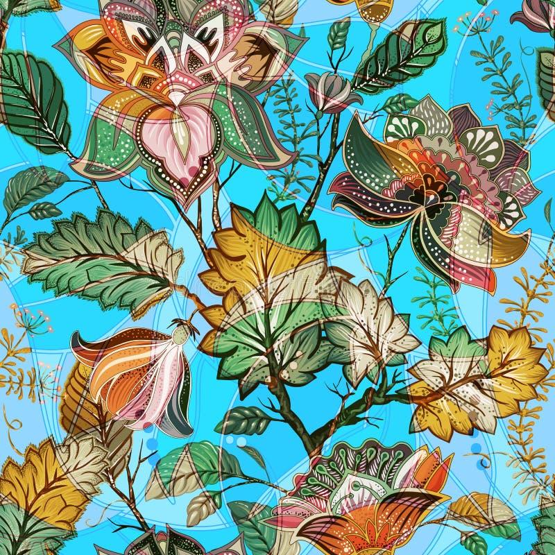 Teste padrão sem emenda floral claro Contexto tirado mão Fundo colorido O teste padrão pode ser usado para a tela, papel de pared ilustração stock