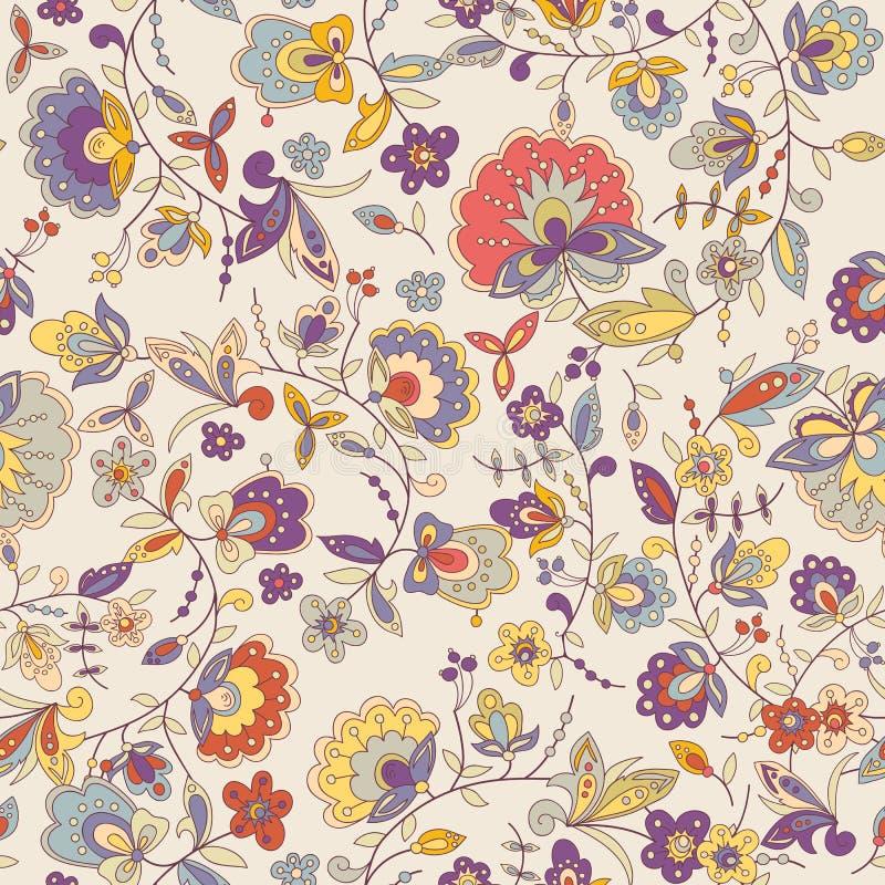 Teste padrão sem emenda floral colorido bonito ilustração stock