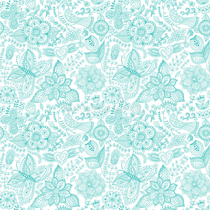 Teste padrão sem emenda floral colorido no estilo dos desenhos animados. Patt sem emenda ilustração do vetor