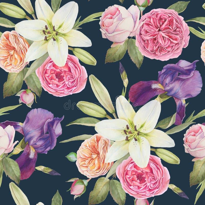 Teste padrão sem emenda floral com íris da aquarela, os lírios brancos e as rosas ilustração do vetor