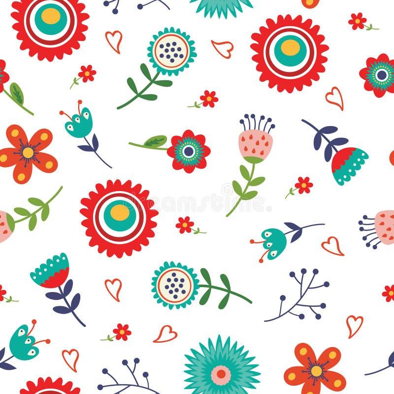 Teste padrão sem emenda floral com cores brilhantes ilustração stock