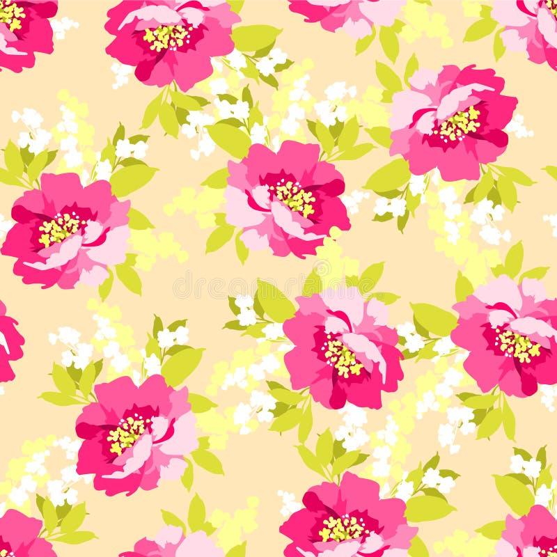 Teste padrão sem emenda floral com flores cor-de-rosa ilustração royalty free
