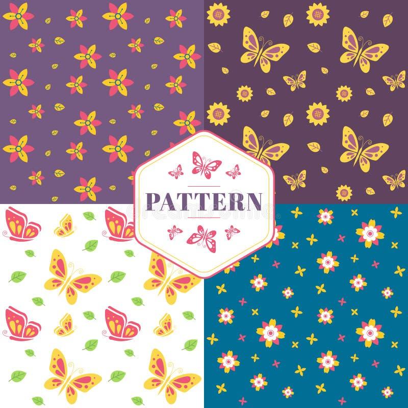 Teste padrão sem emenda floral com flores e borboletas ilustração royalty free