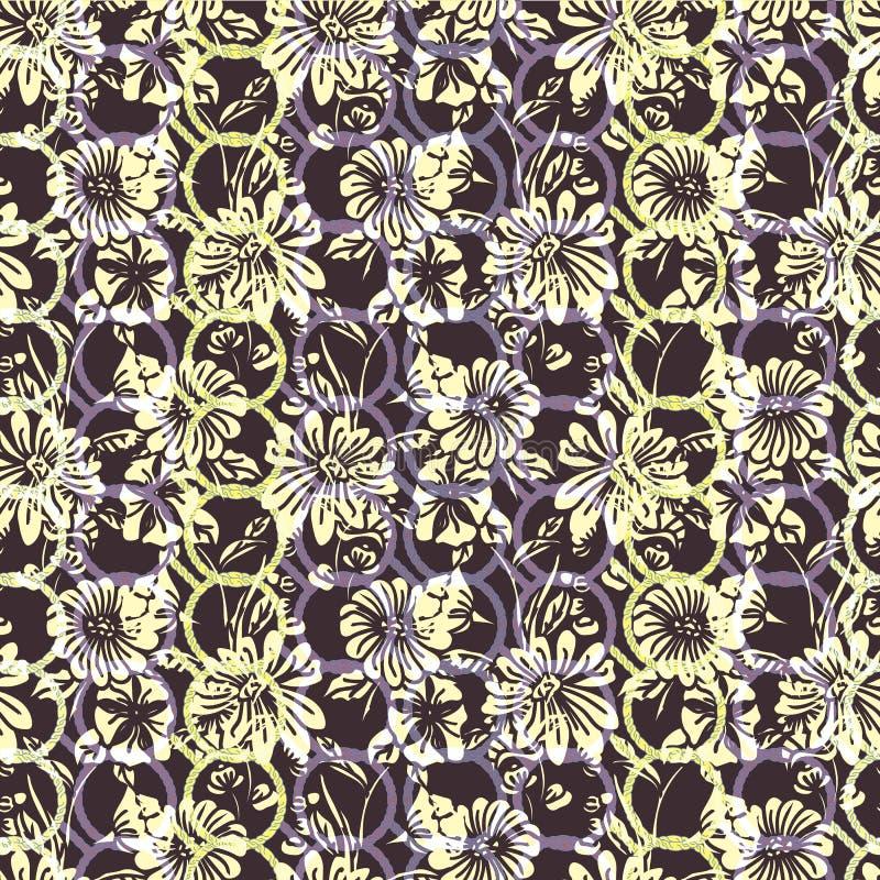 Teste padrão sem emenda floral com folhas, as flores, os petúnias e as margaridas abstratos em branco, em amarelo, em lilás, em r ilustração stock