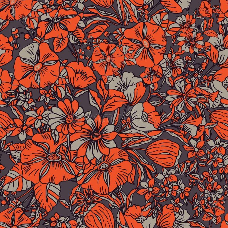 Teste padrão sem emenda floral com folhas, as flores, as papoilas, as tulipas, os lírios e as plantas abstratos na laranja, bege, ilustração royalty free