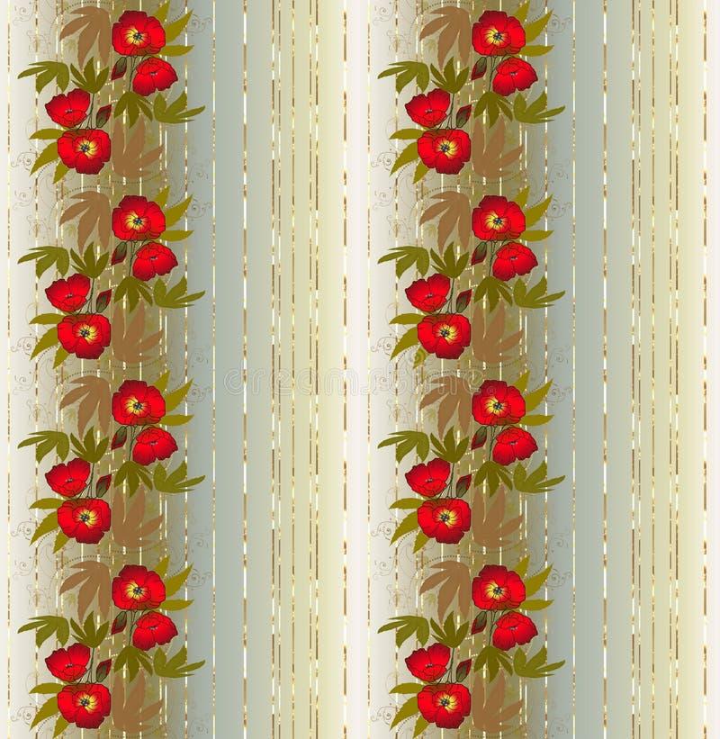Teste padrão sem emenda floral com papoilas ilustração do vetor