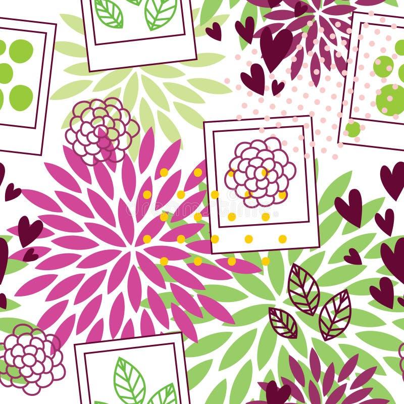 Teste padrão floral com quadros do polaroid ilustração royalty free