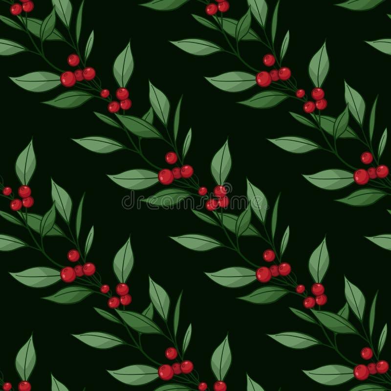 Teste padrão sem emenda floral com ramos diagonais, folhas, bagas no fundo preto ilustração stock