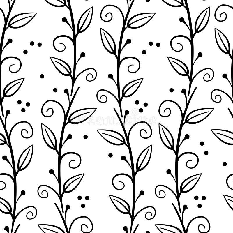 Teste padrão sem emenda floral com ramos e as folhas verticais pretos ilustração royalty free