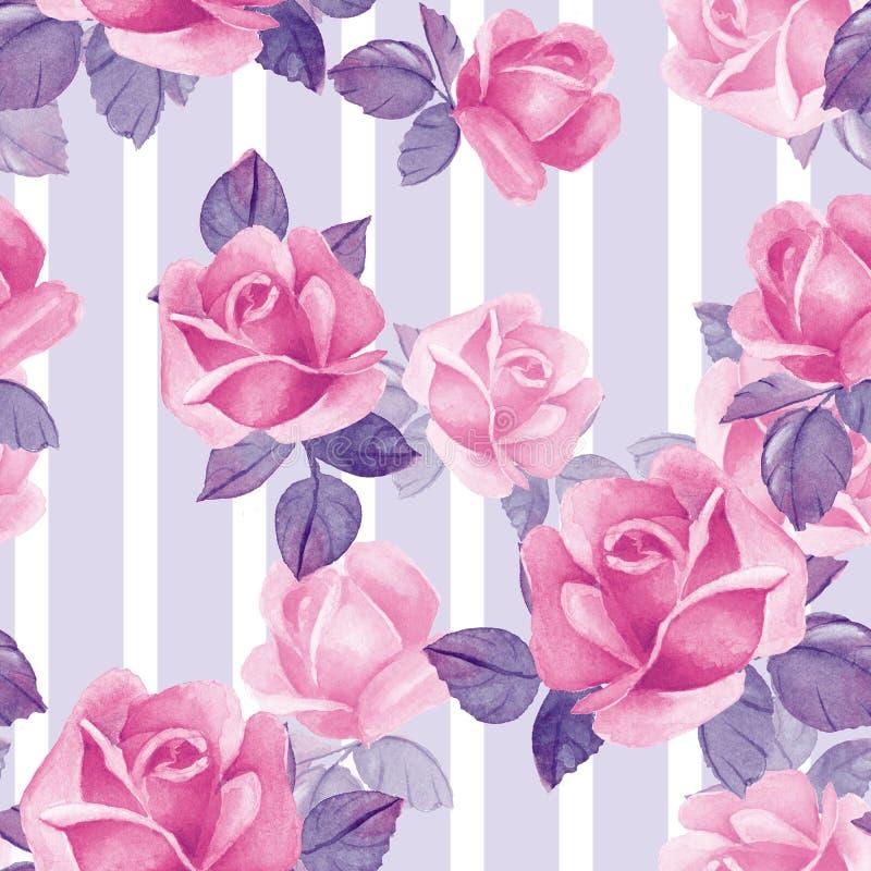 Teste padrão sem emenda floral com rosas cor-de-rosa 1 ilustração stock